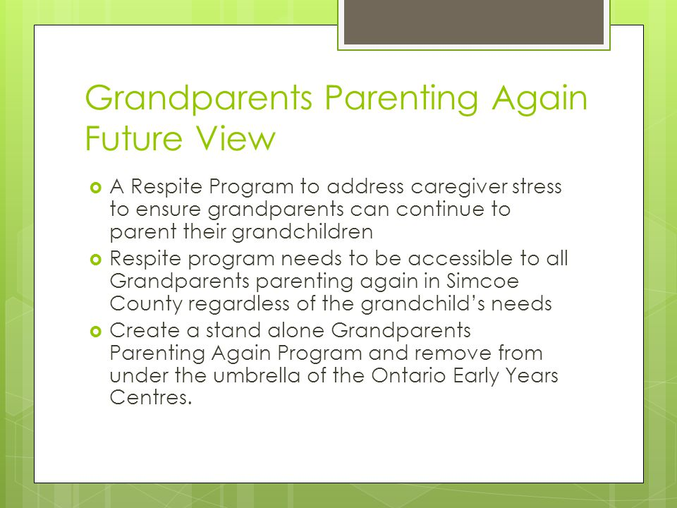 Grandparents Parenting Again Future View  A Respite Program to address caregiver stress to ensure grandparents can continue to parent their grandchildren  Respite program needs to be accessible to all Grandparents parenting again in Simcoe County regardless of the grandchild's needs  Create a stand alone Grandparents Parenting Again Program and remove from under the umbrella of the Ontario Early Years Centres.