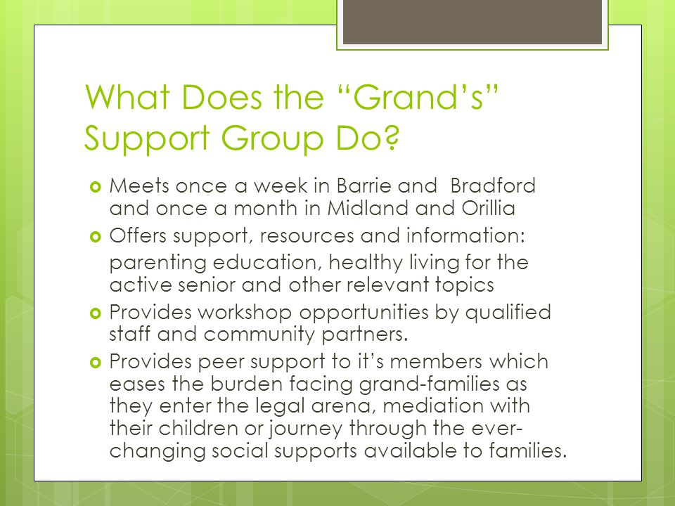 What Does the Grand's Support Group Do.