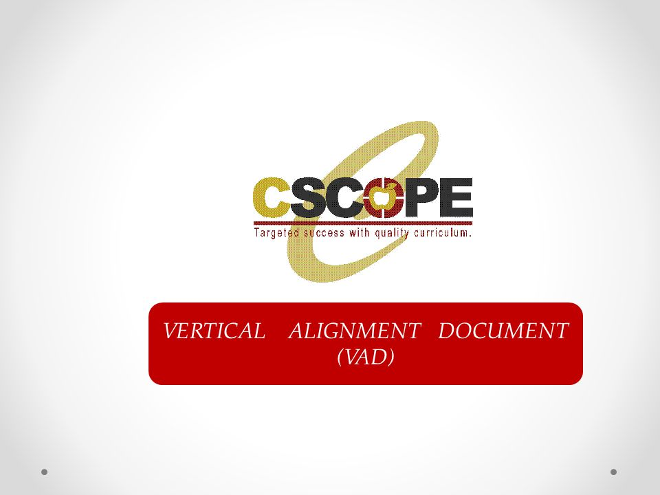 VERTICAL ALIGNMENT DOCUMENT (VAD)