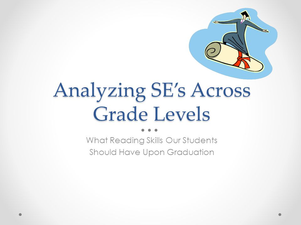 Analyzing SE's Across Grade Levels What Reading Skills Our Students Should Have Upon Graduation