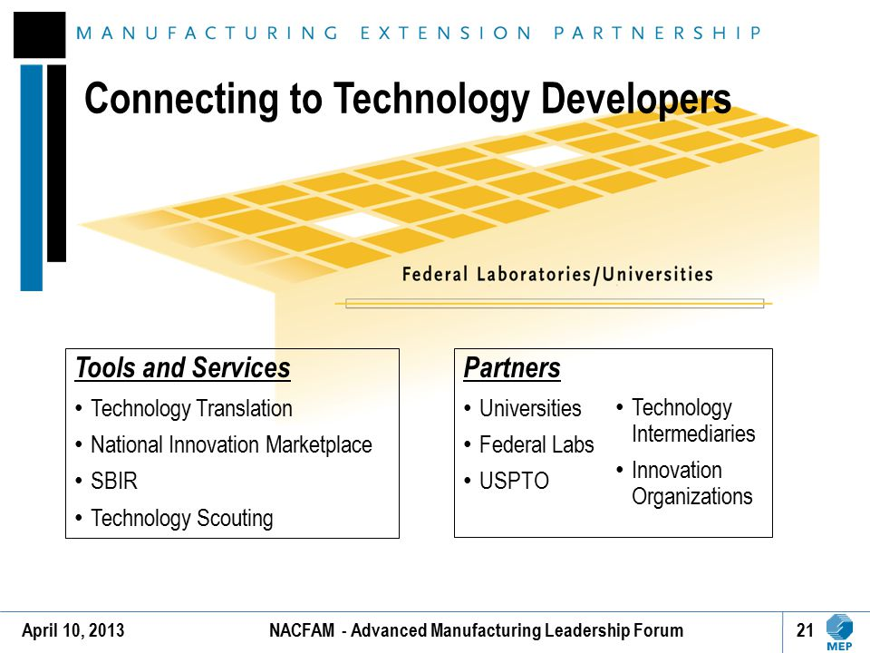 Connecting to Technology Developers Tools and Services Technology Translation National Innovation Marketplace SBIR Technology Scouting Partners Univer