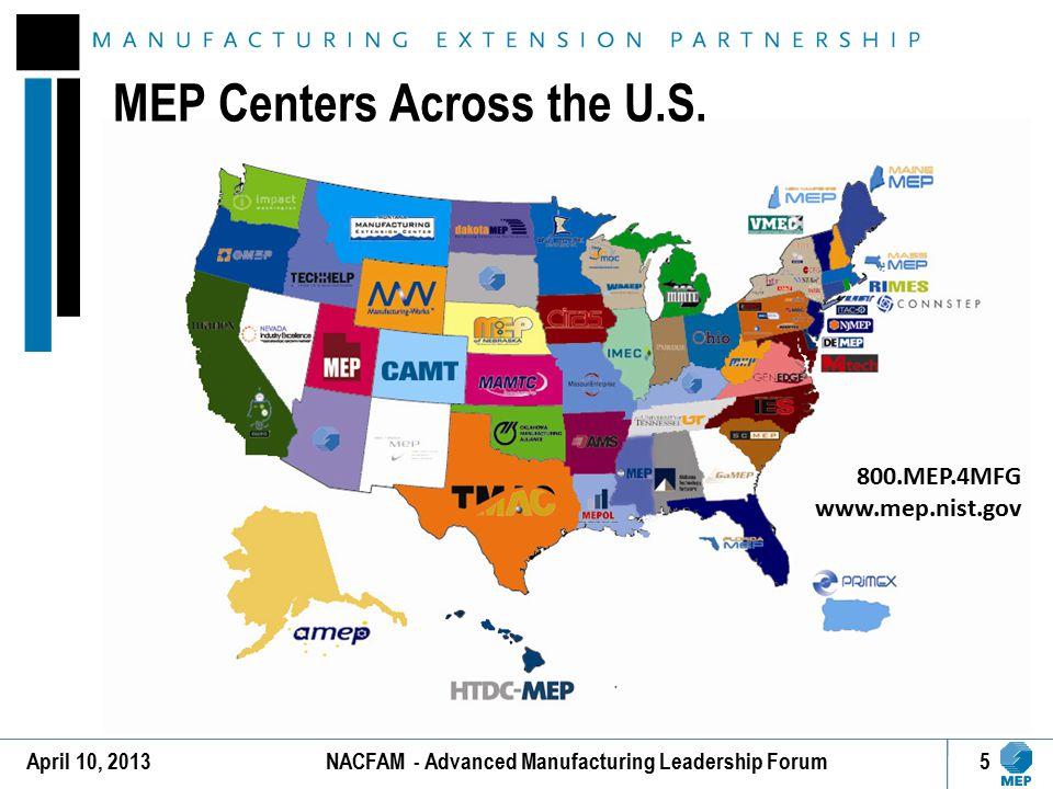 MEP Centers Across the U.S. 5 800.MEP.4MFG www.mep.nist.gov April 10, 2013NACFAM - Advanced Manufacturing Leadership Forum
