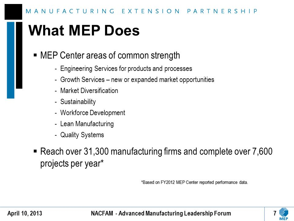 MEP N EXT G ENERATION S TRATEGY 8April 10, 2013NACFAM - Advanced Manufacturing Leadership Forum