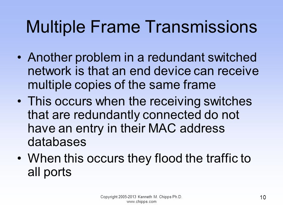 Copyright 2005-2013 Kenneth M. Chipps Ph.D. www.chipps.com 10 Multiple Frame Transmissions Another problem in a redundant switched network is that an