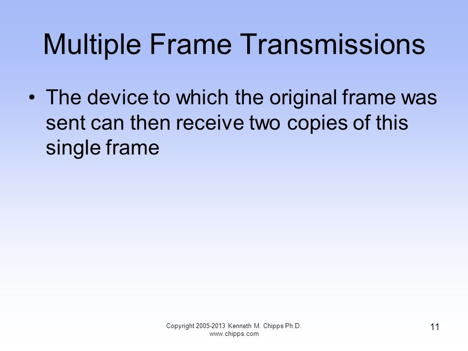 Copyright 2005-2013 Kenneth M. Chipps Ph.D. www.chipps.com 11 Multiple Frame Transmissions The device to which the original frame was sent can then re