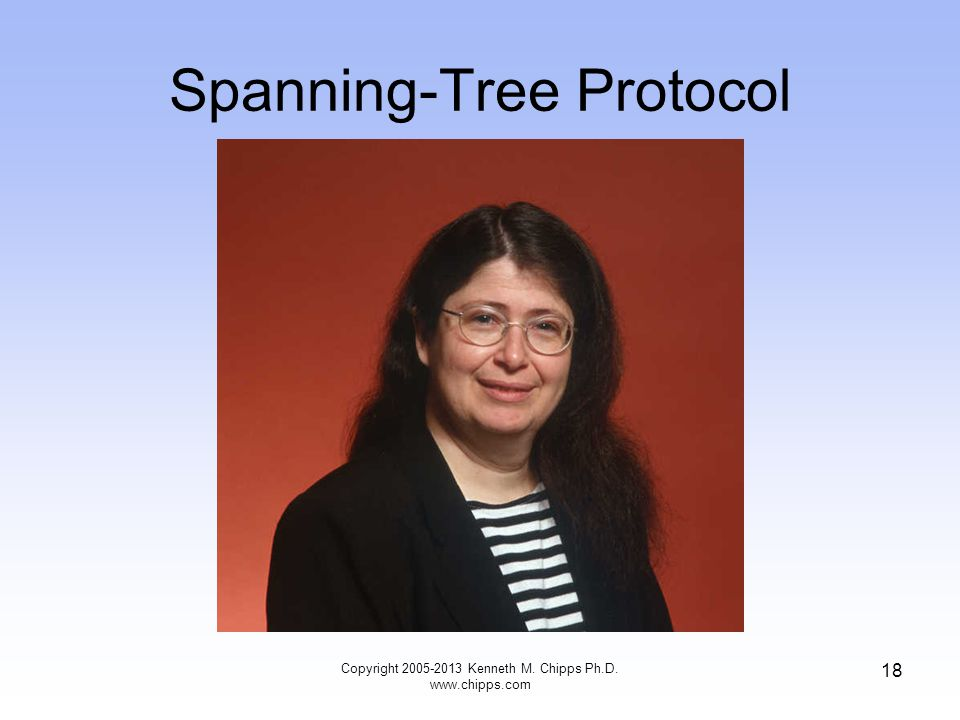 Spanning-Tree Protocol Copyright 2005-2013 Kenneth M. Chipps Ph.D. www.chipps.com 18