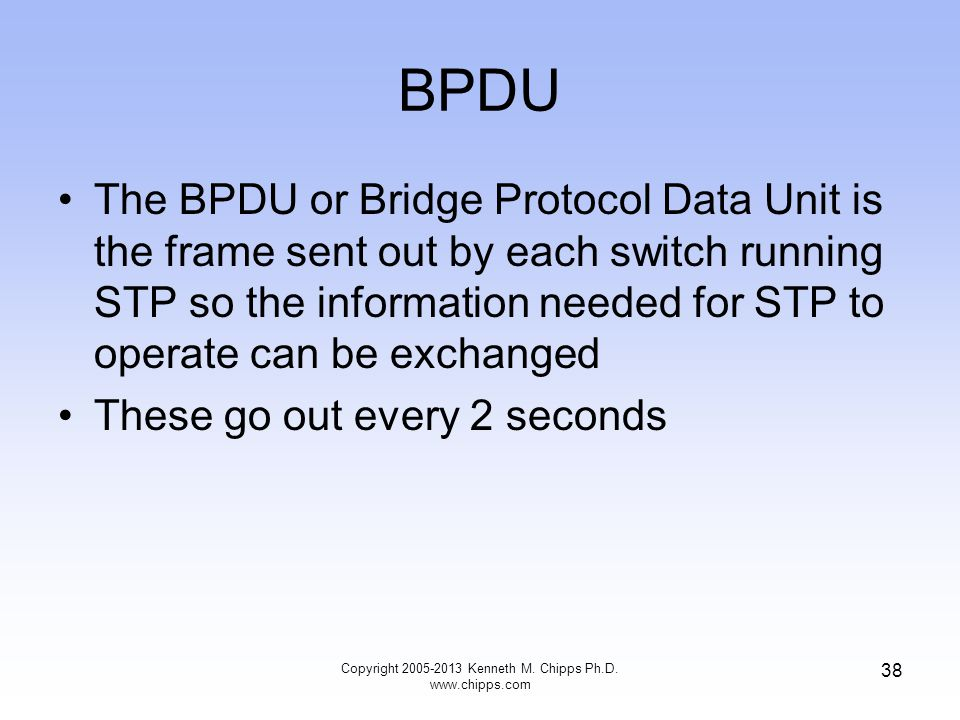 BPDU Copyright 2005-2013 Kenneth M. Chipps Ph.D. www.chipps.com 38 The BPDU or Bridge Protocol Data Unit is the frame sent out by each switch running