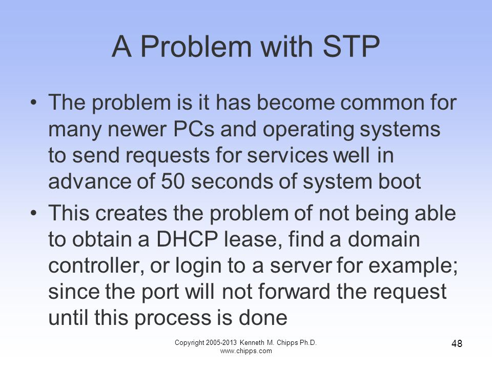 Copyright 2005-2013 Kenneth M. Chipps Ph.D. www.chipps.com 48 A Problem with STP The problem is it has become common for many newer PCs and operating