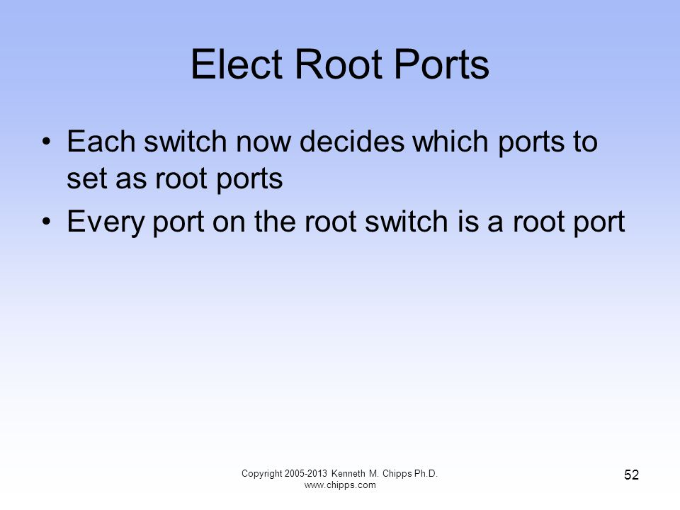 Elect Root Ports Each switch now decides which ports to set as root ports Every port on the root switch is a root port Copyright 2005-2013 Kenneth M.