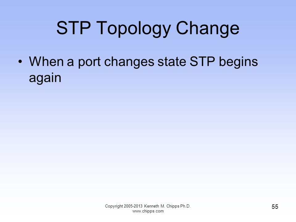 STP Topology Change When a port changes state STP begins again Copyright 2005-2013 Kenneth M. Chipps Ph.D. www.chipps.com 55