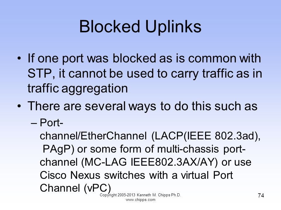 Blocked Uplinks If one port was blocked as is common with STP, it cannot be used to carry traffic as in traffic aggregation There are several ways to