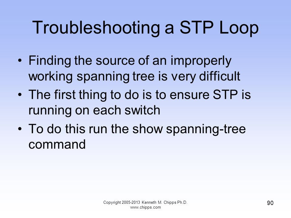 Troubleshooting a STP Loop Finding the source of an improperly working spanning tree is very difficult The first thing to do is to ensure STP is runni