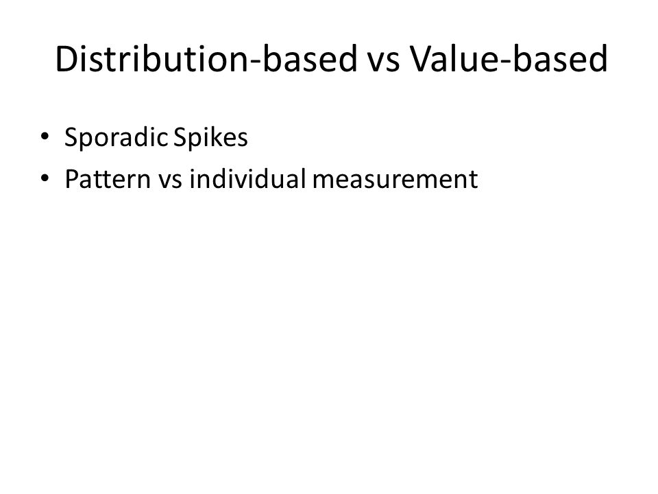 Distribution-based vs Value-based Sporadic Spikes Pattern vs individual measurement