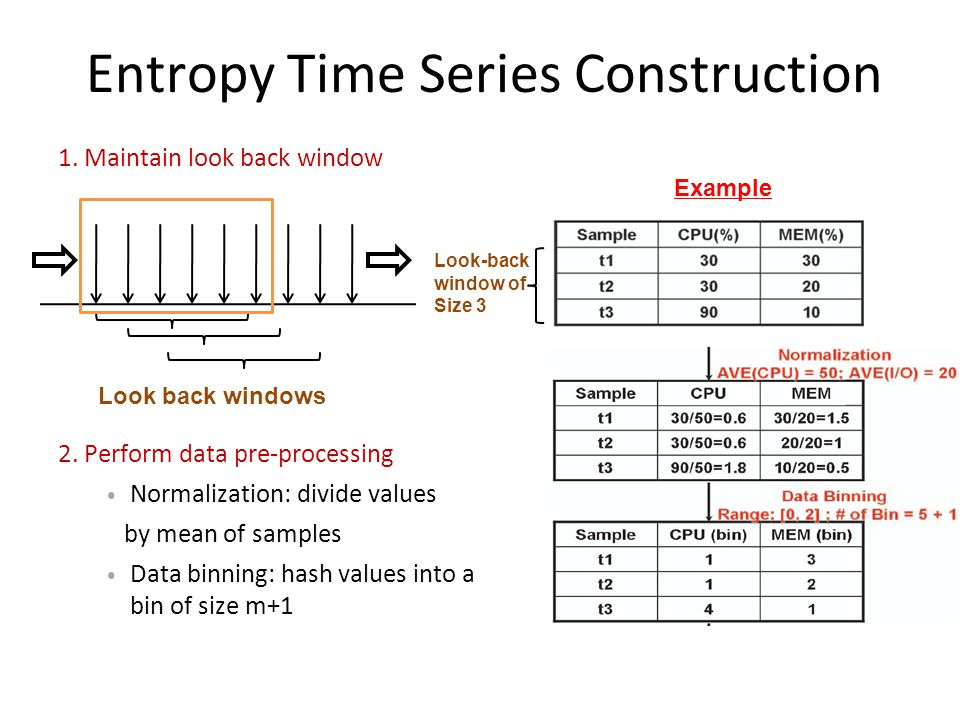 Entropy Time Series Construction Look back windows Look-back window of Size 3 Example 2. Perform data pre-processing Normalization: divide values by m