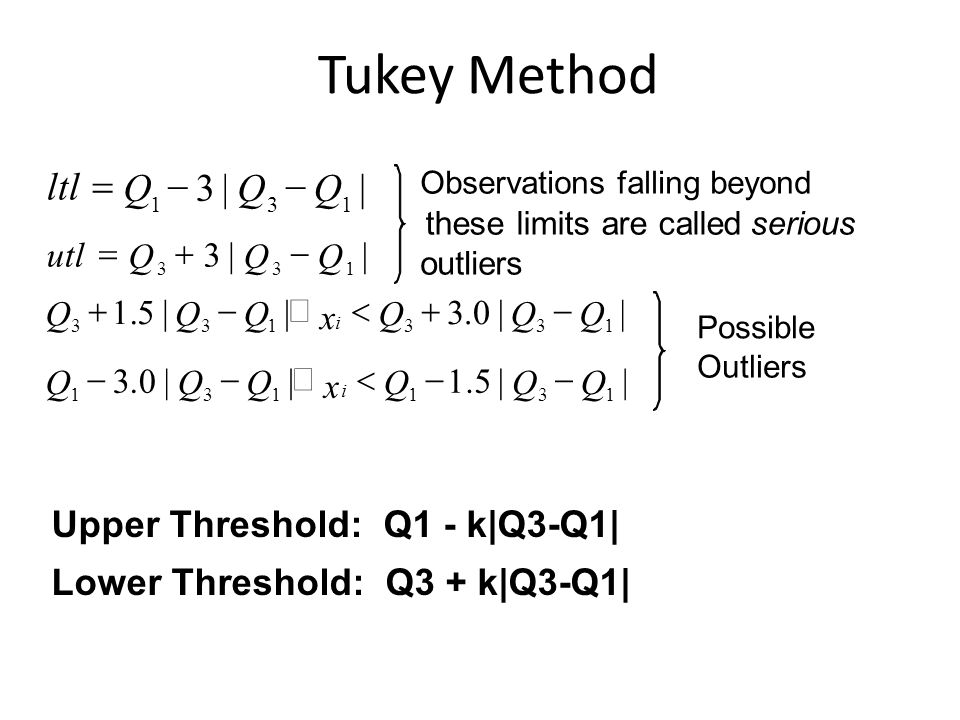 Upper Threshold: Q1 - k|Q3-Q1| Lower Threshold: Q3 + k|Q3-Q1| Tukey Method ||3 131 QQQ ltl  ||3 133 QQQ utl  ||0.3||5.1 133133 QQQ x QQQ i  ||5.1||0.3 131131 QQQ x QQQ i  Possible Outliers Observations falling beyond these limits are calledserious outliers