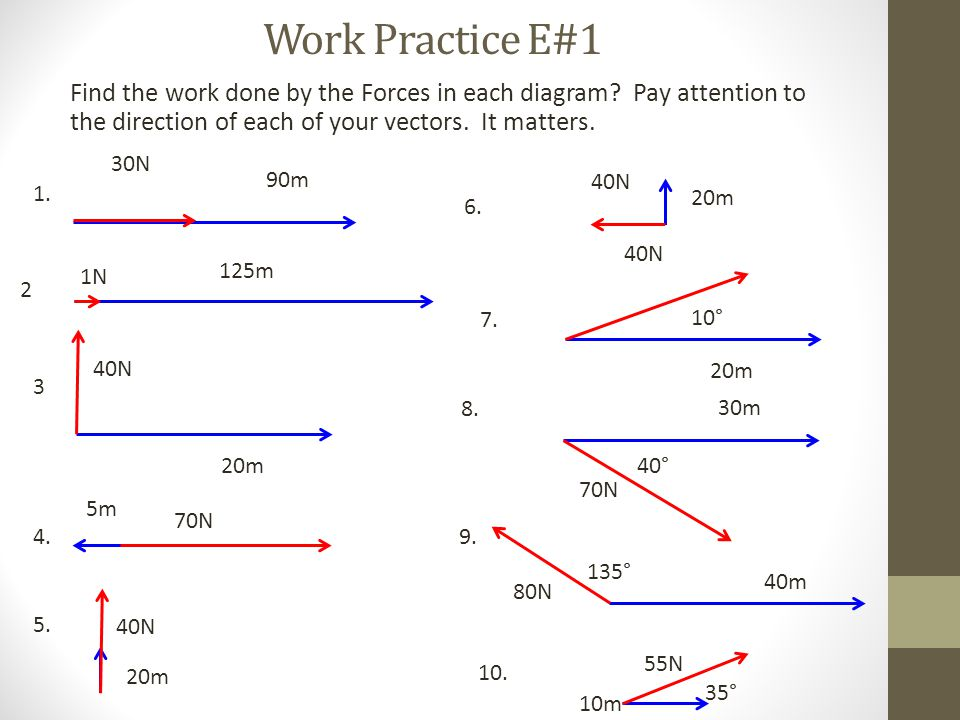 Work Practice E#1 Find the work done by the Forces in each diagram? Pay attention to the direction of each of your vectors. It matters. 40N 20m 30N 90