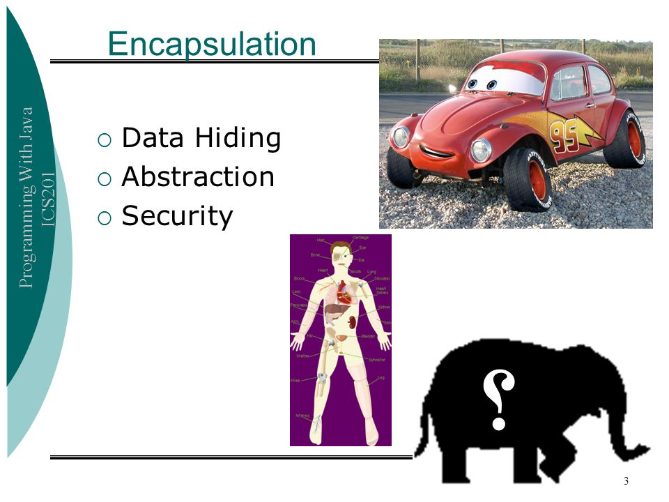 Programming With Java ICS201 Encapsulation  Data Hiding  Abstraction  Security ؟ 3