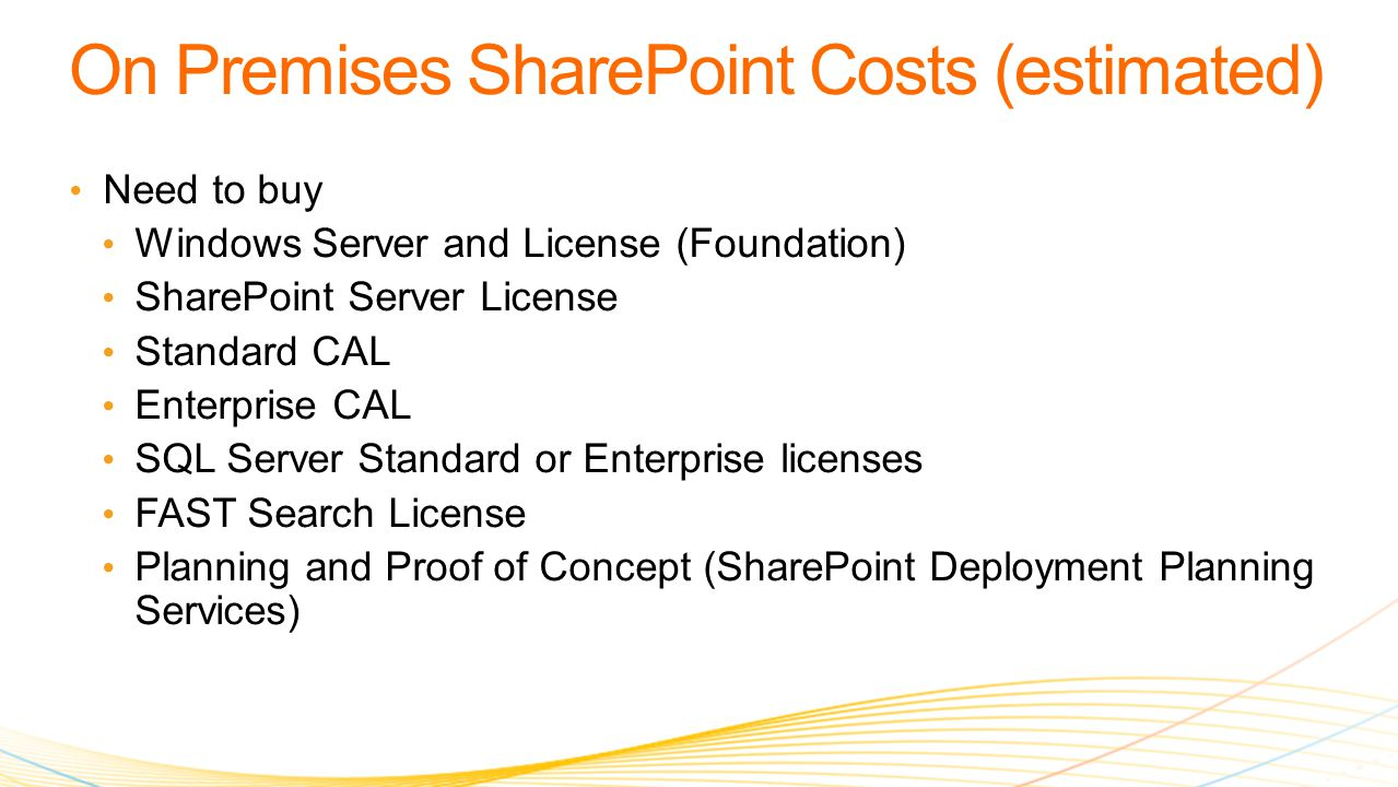 Need to buy Windows Server and License (Foundation) SharePoint Server License Standard CAL Enterprise CAL SQL Server Standard or Enterprise licenses FAST Search License Planning and Proof of Concept (SharePoint Deployment Planning Services)
