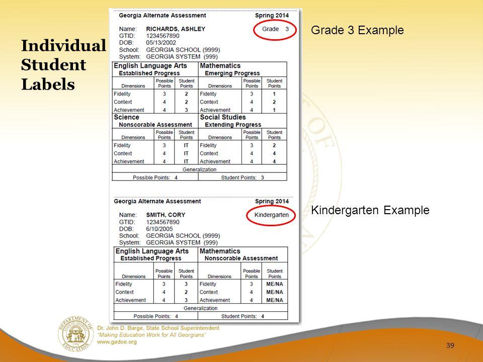 Individual Student Labels Grade 3 Example Kindergarten Example 39