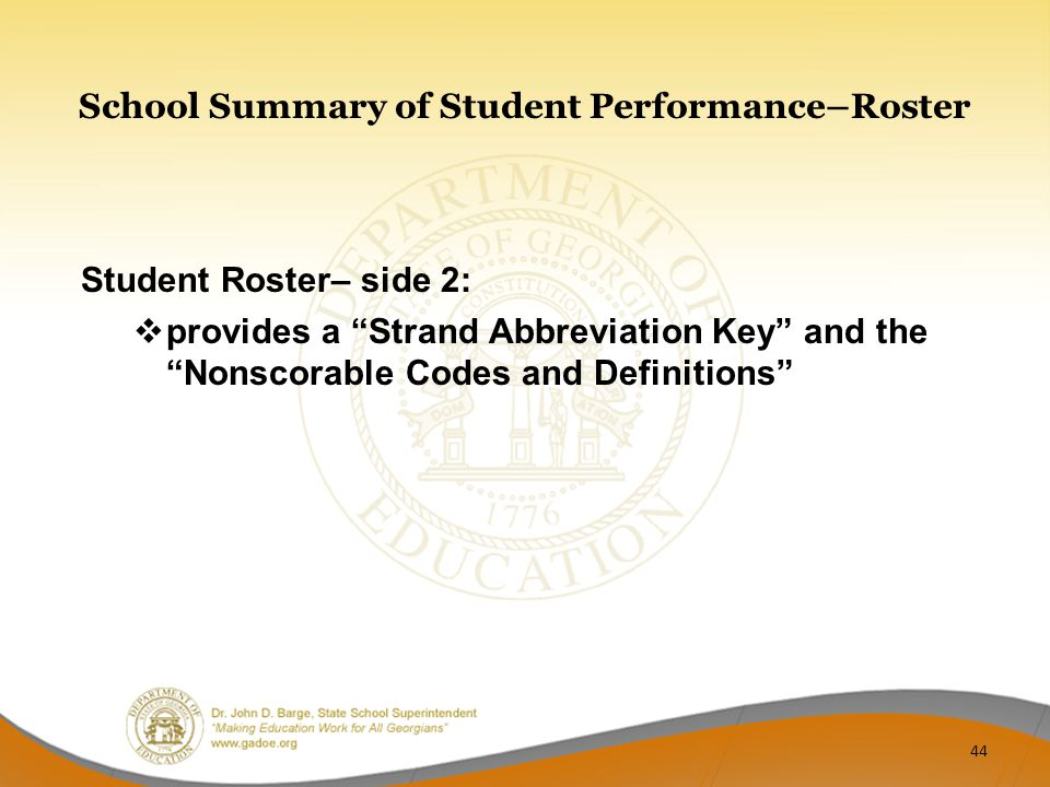 School Summary of Student Performance–Roster Student Roster– side 2:  provides a Strand Abbreviation Key and the Nonscorable Codes and Definitions 44