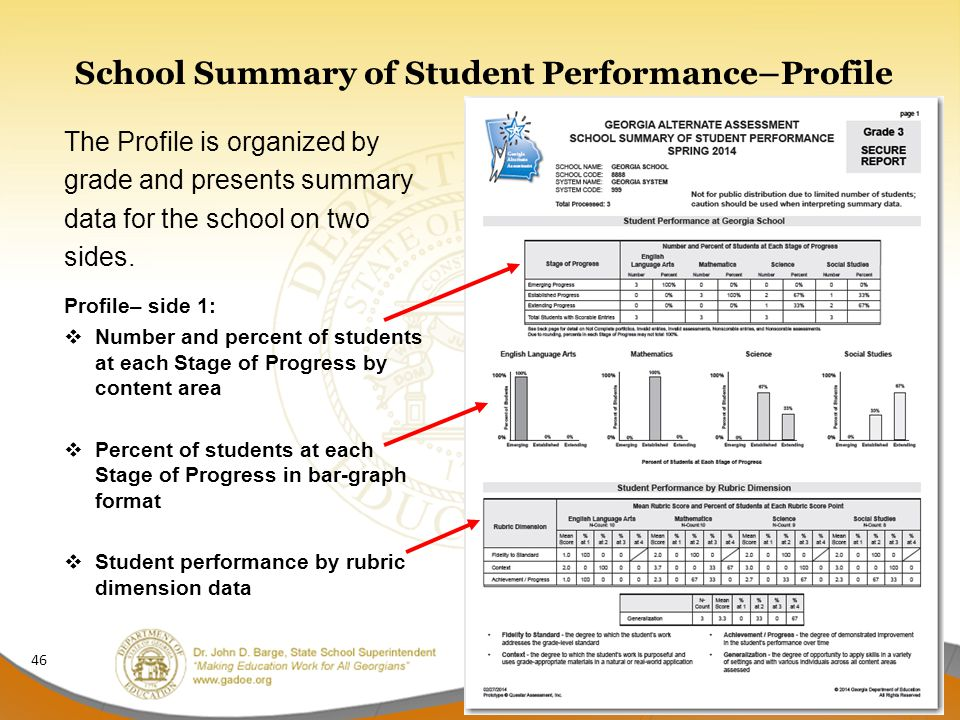 School Summary of Student Performance–Profile The Profile is organized by grade and presents summary data for the school on two sides.