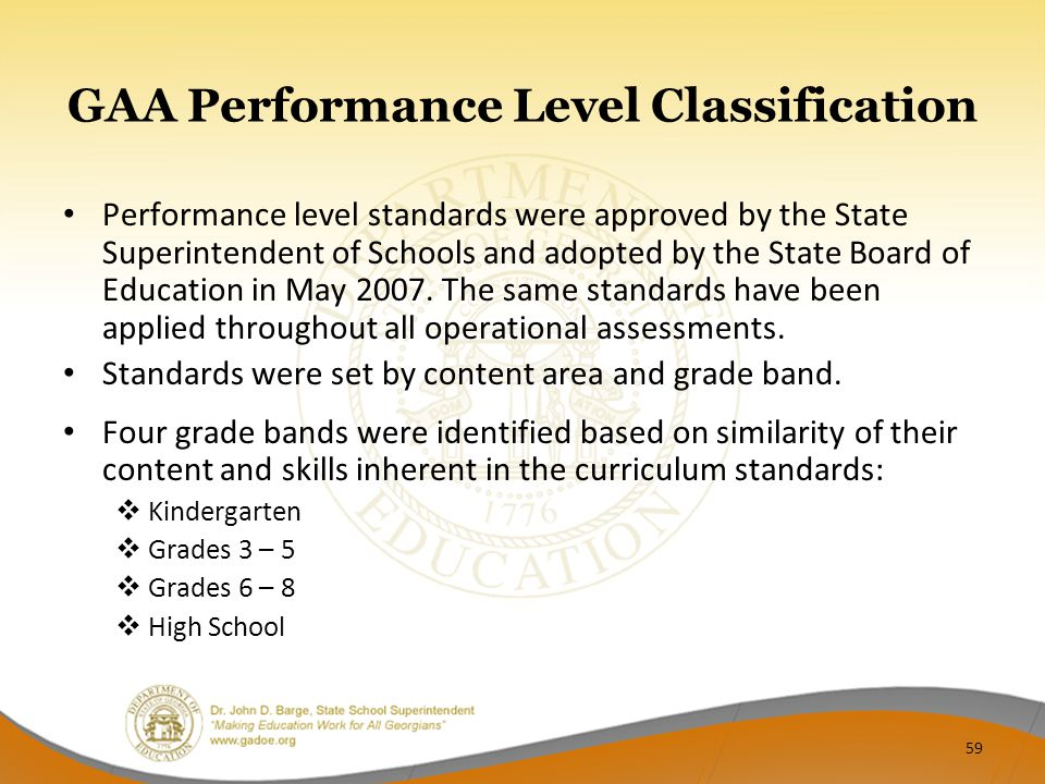GAA Performance Level Classification Performance level standards were approved by the State Superintendent of Schools and adopted by the State Board of Education in May 2007.