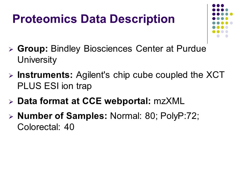 Proteomics Data Description  Group: Bindley Biosciences Center at Purdue University  Instruments: Agilent's chip cube coupled the XCT PLUS ESI ion t