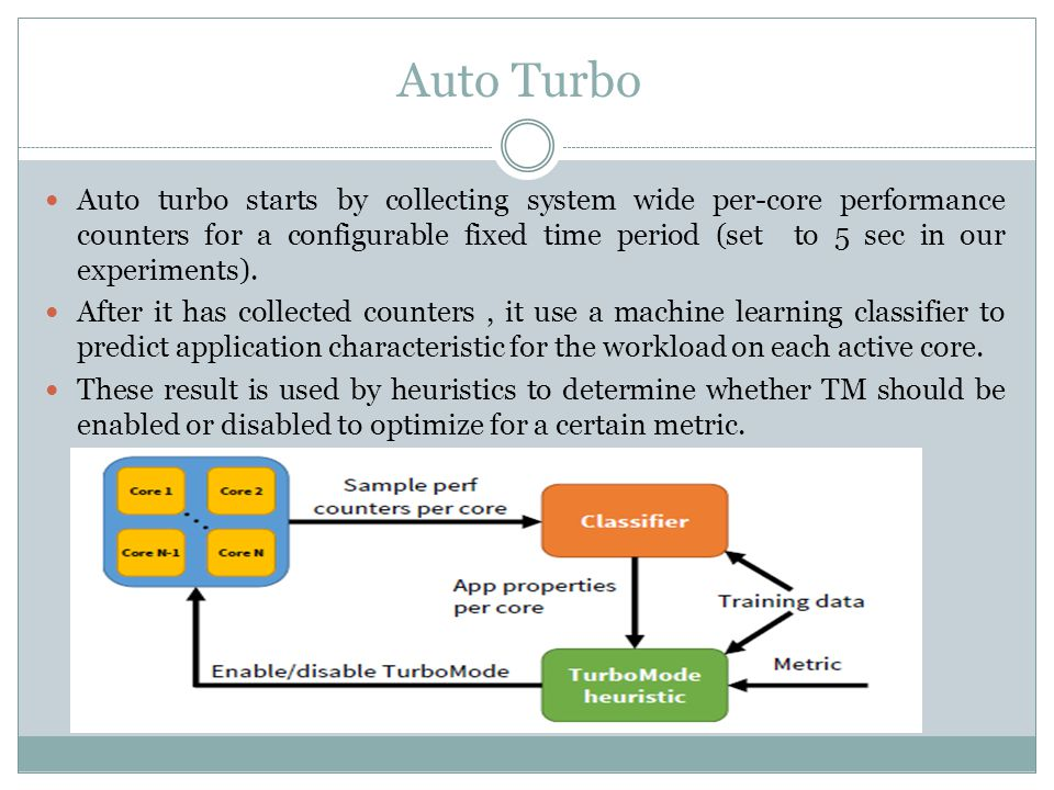 Auto turbo starts by collecting system wide per-core performance counters for a configurable fixed time period (set to 5 sec in our experiments).