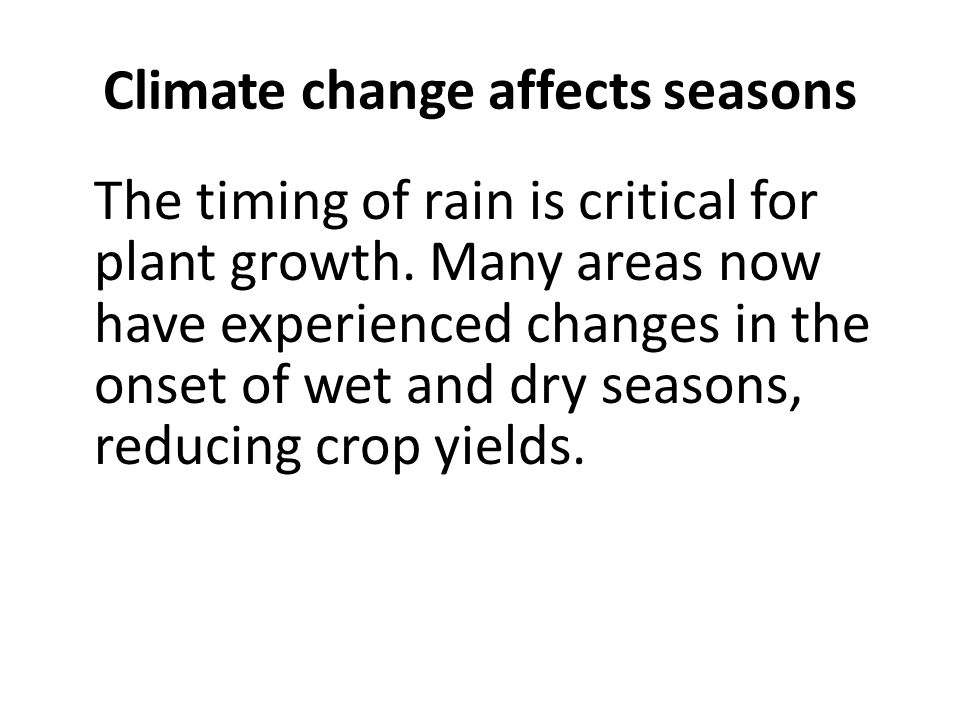 Climate change affects seasons The timing of rain is critical for plant growth.