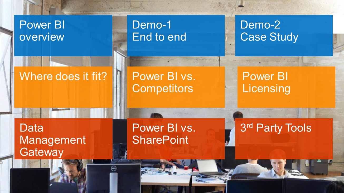 Power BI overview Demo-2 Case Study Demo-1 End to end Where does it fit.
