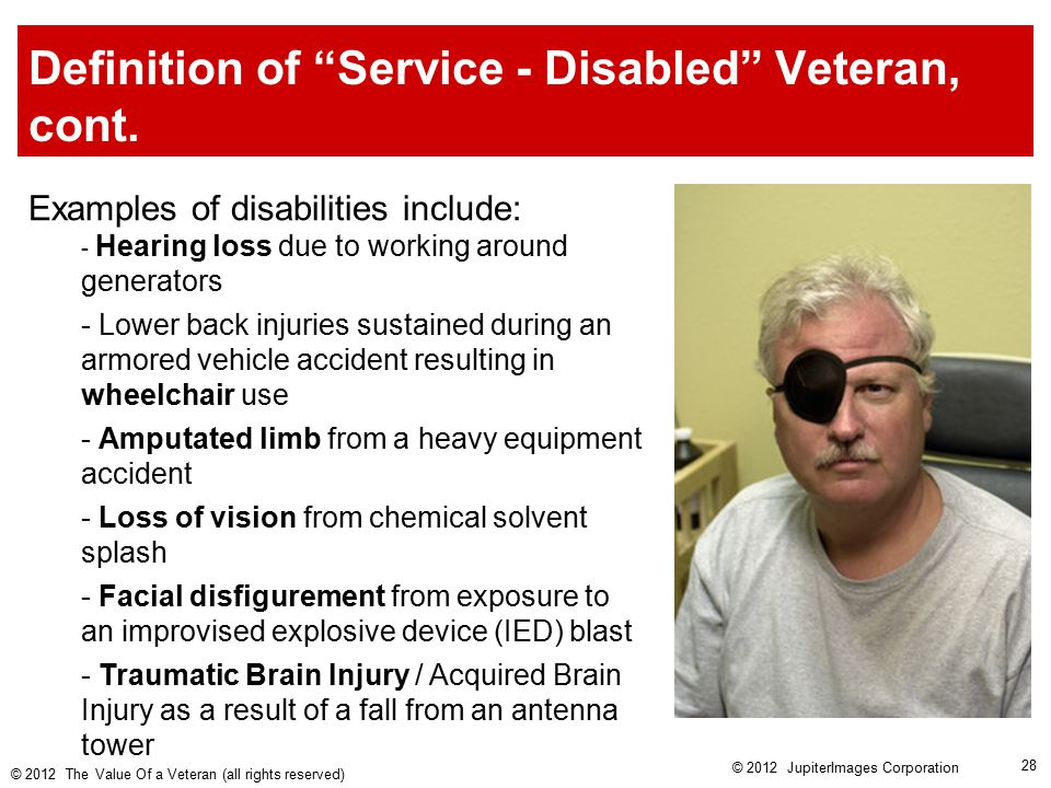Definition of Service - Disabled Veteran, cont.