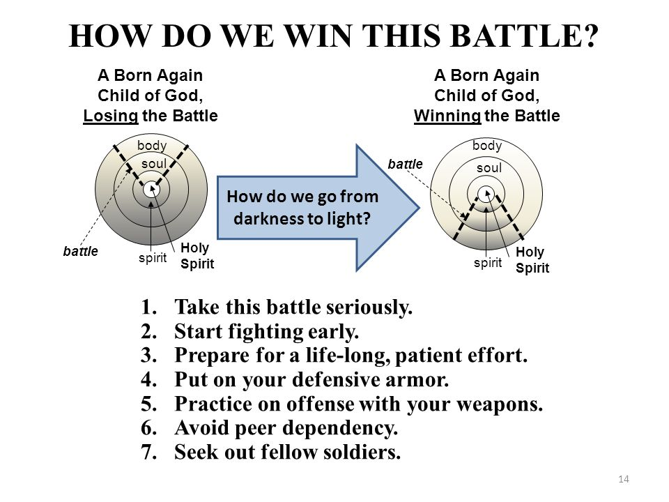 HOW DO WE WIN THIS BATTLE? A Born Again Child of God, Losing the Battle Holy Spirit battle spirit soul body 1.Take this battle seriously. 2.Start figh