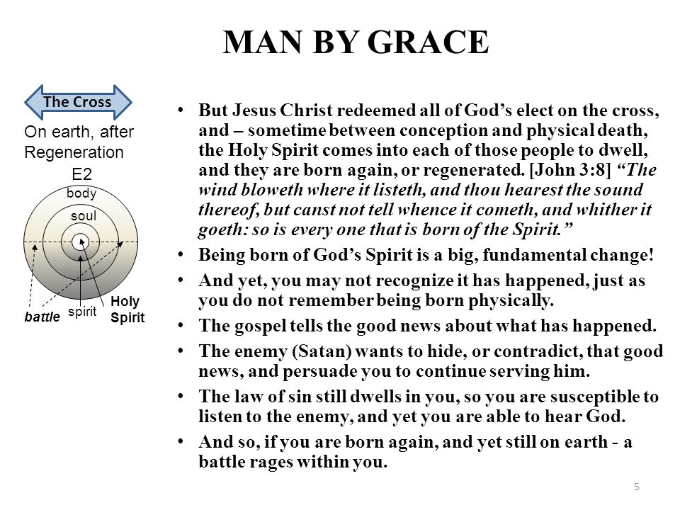 MAN BY GRACE On earth, after Regeneration Holy Spirit battle spirit soul body E2 The Cross But Jesus Christ redeemed all of God's elect on the cross,