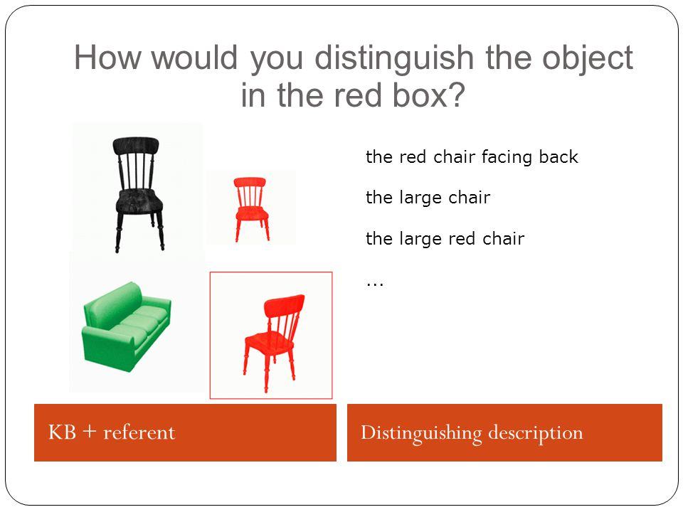 KB + referent Distinguishing description How would you distinguish the object in the red box.