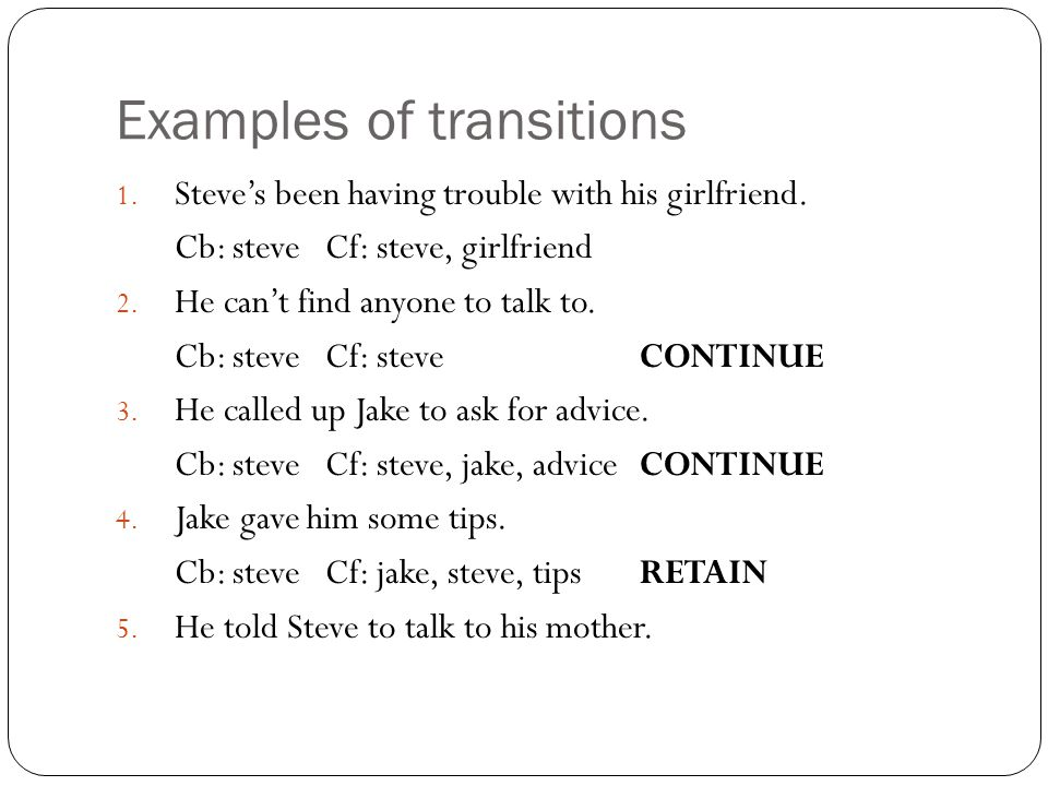 Examples of transitions 1. Steve's been having trouble with his girlfriend.