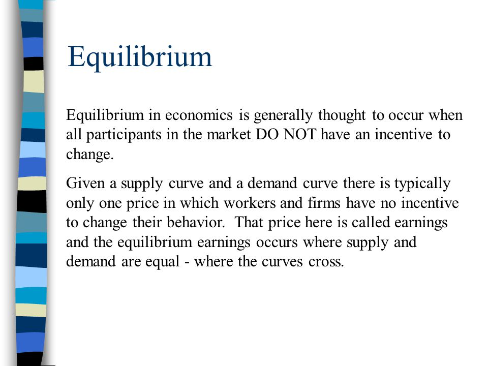 equilibrium earnings employment S D e1 e2 e3 e1 is NOT an equilibrium wage because at this wage (earnings) there are more workers than what firms desire.