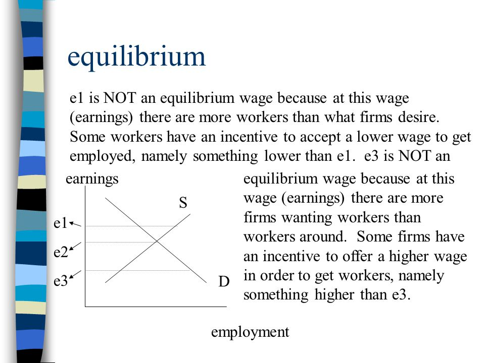 equilibrium Only at e2 on the previous screen is the market in equilibrium.