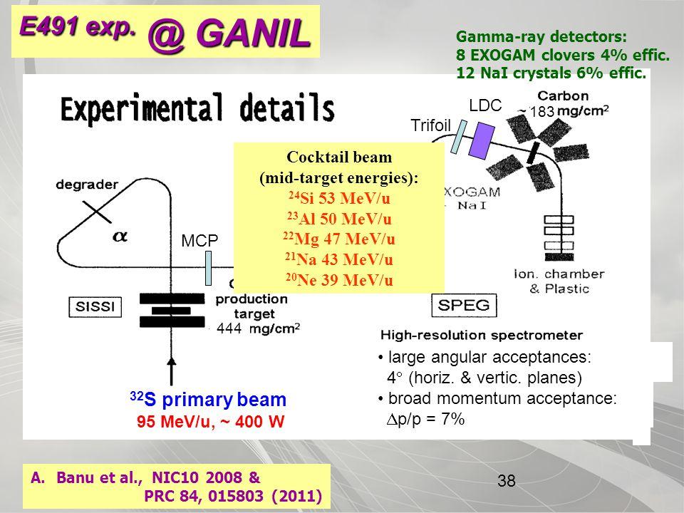 CYCLOTRON INSTITUTE 32 S primary beam 444 183 95 MeV/u, ~ 400 W MCP LDC Trifoil Gamma-ray detectors: 8 EXOGAM clovers 4% effic.