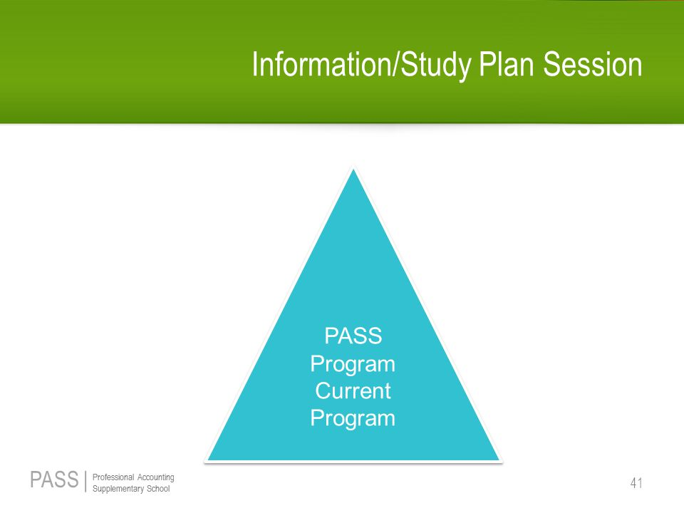 PASS | Professional Accounting Supplementary School Professional Accounting Supplementary School Information/Study Plan Session 41 PASS Program Current Program