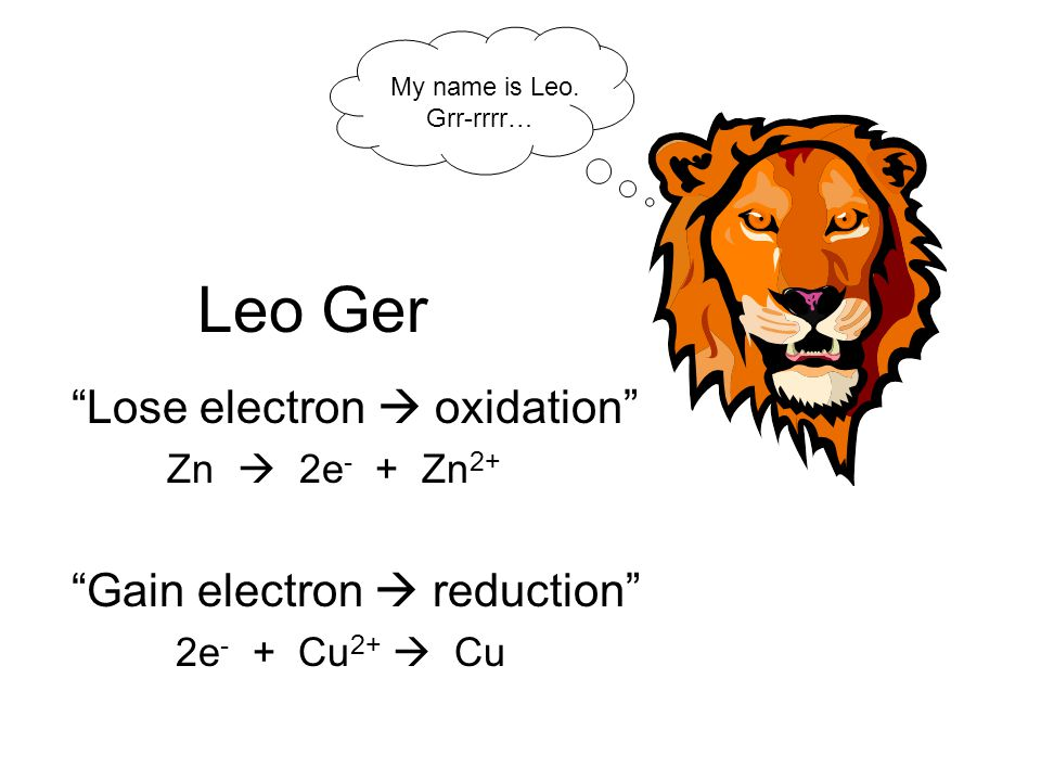 Leo Ger Lose electron  oxidation Zn  2e - + Zn 2+ Gain electron  reduction 2e - + Cu 2+  Cu My name is Leo.
