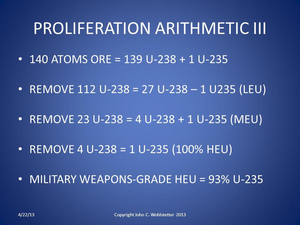 PROLIFERATION ARITHMETIC III 140 ATOMS ORE = 139 U-238 + 1 U-235 REMOVE 112 U-238 = 27 U-238 – 1 U235 (LEU) REMOVE 23 U-238 = 4 U-238 + 1 U-235 (MEU) REMOVE 4 U-238 = 1 U-235 (100% HEU) MILITARY WEAPONS-GRADE HEU = 93% U-235 4/22/13Copyright John C.