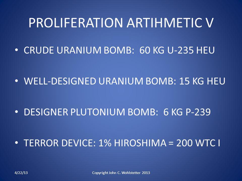 PROLIFERATION ARTIHMETIC V CRUDE URANIUM BOMB: 60 KG U-235 HEU WELL-DESIGNED URANIUM BOMB: 15 KG HEU DESIGNER PLUTONIUM BOMB: 6 KG P-239 TERROR DEVICE: 1% HIROSHIMA = 200 WTC I 4/22/13Copyright John C.