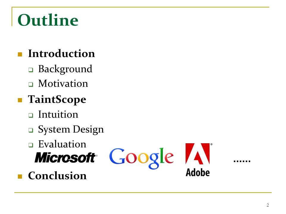 Evaluation 4 : 27 previous unknown vulns 23 Introduction TaintScope Conclusion MS Paint Google Picasa Adobe Acrobat ImageMagick irfanview gstreamer WinampXEmacs Amaya dillo wxWidgets PDFlib