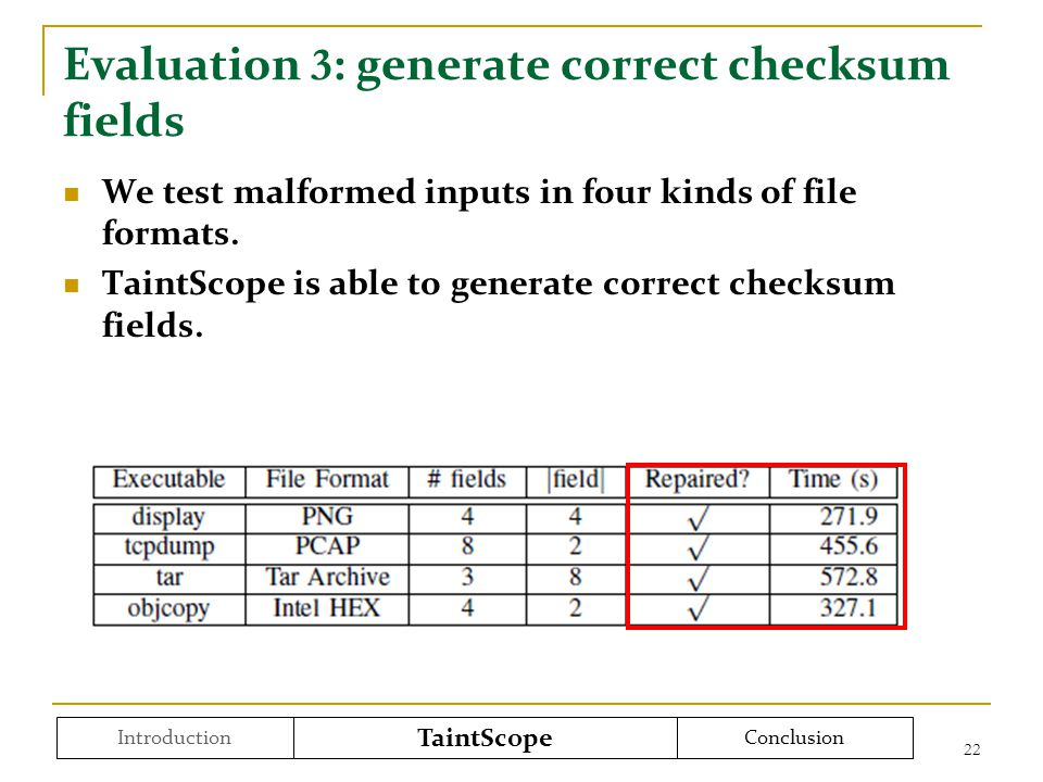 Evaluation 3 : generate correct checksum fields We test malformed inputs in four kinds of file formats.