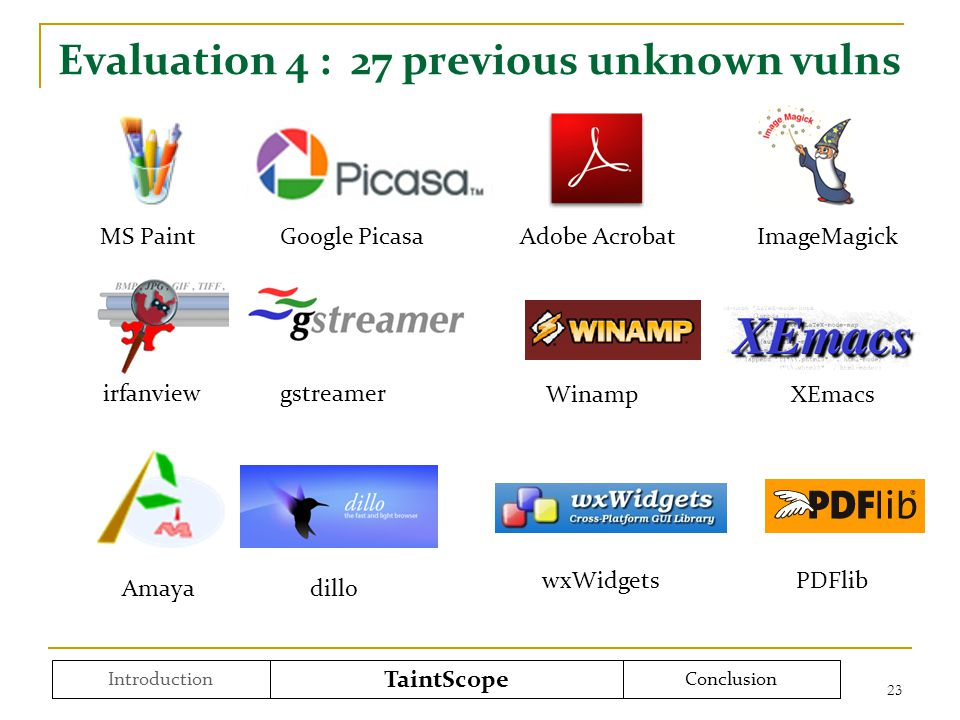 Evaluation 4 : 27 previous unknown vulns 23 Introduction TaintScope Conclusion MS Paint Google Picasa Adobe Acrobat ImageMagick irfanview gstreamer Wi