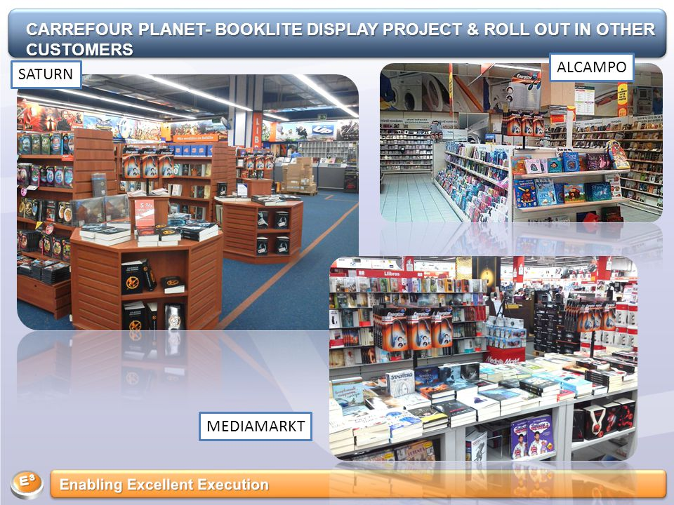 SATURN MEDIAMARKT ALCAMPO CARREFOUR PLANET- BOOKLITE DISPLAY PROJECT & ROLL OUT IN OTHER CUSTOMERS