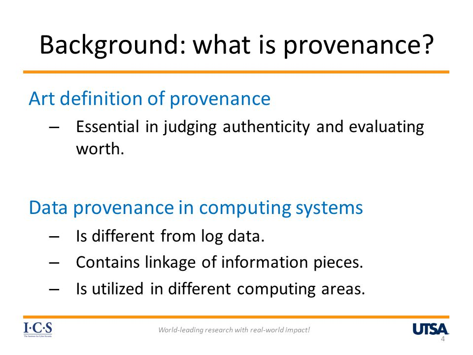 Background: what is provenance.