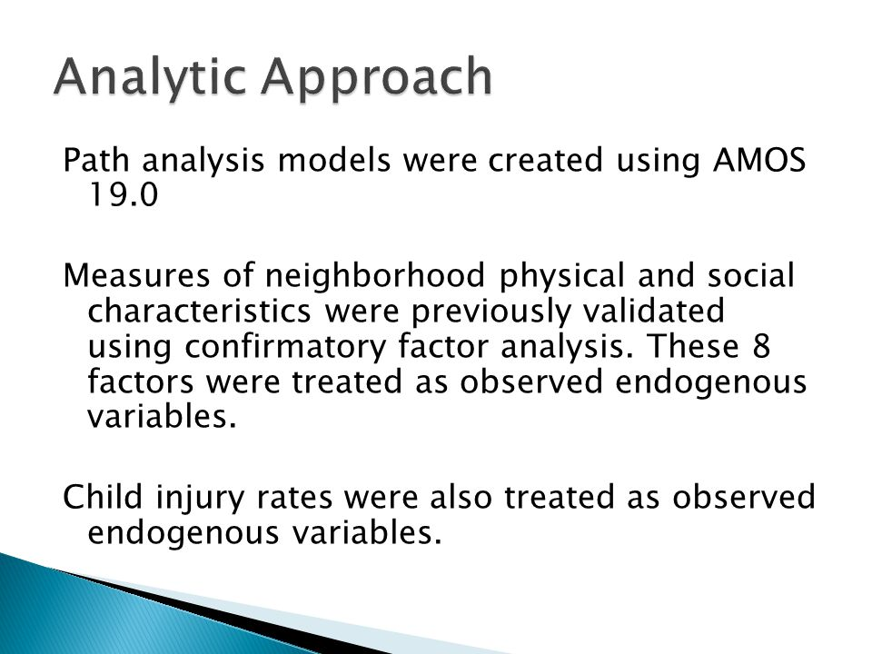 Path analysis models were created using AMOS 19.0 Measures of neighborhood physical and social characteristics were previously validated using confirmatory factor analysis.