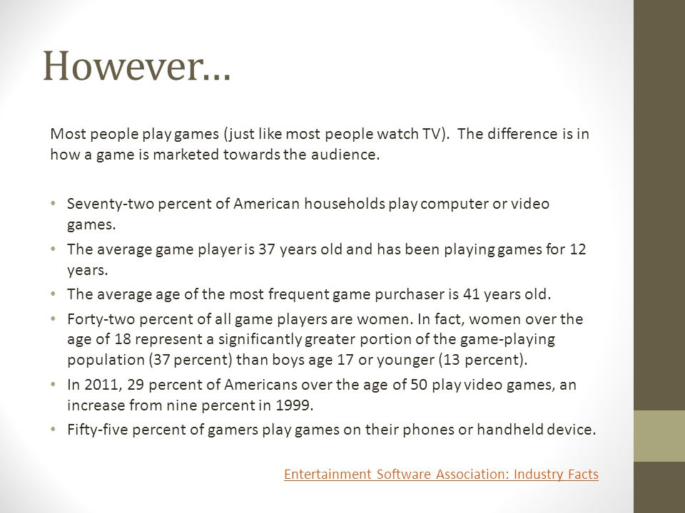 However… Most people play games (just like most people watch TV).