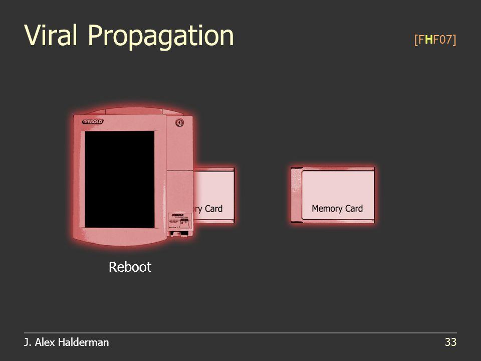 J. Alex Halderman33 Viral Propagation [FHF07] Reboot